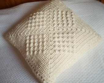 Pure wool crochet pillow, handmade