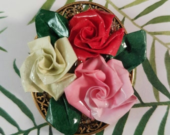 Handmade vintage floral brooch with three roses, unique brooch with origami flowers, romantic gift, wearable art and one-of-a-kind jewellery