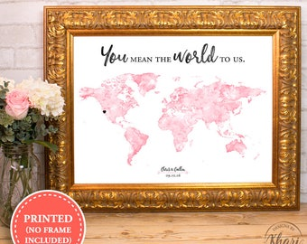 Watercolor world map wedding guest book print - You mean the world to us - alternative wedding guest book - 18x24 - 24x36
