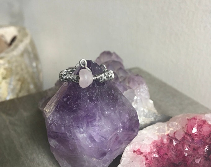 Fairytale inspired ring made with genuine Rose Quartz