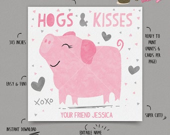 INSTANT DOWNLOAD - EDITABLE Valentine's day Card Hogs and Kisses kids Valentines Day card pig Valentine's classroom Card