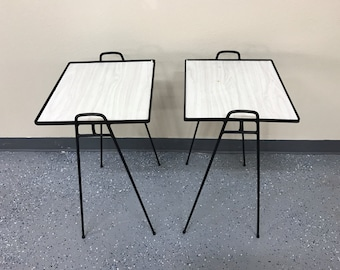 Pair Iron matching end tables