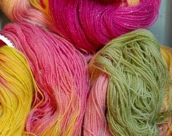 Hand Dyed Yarn Sock Fingering Yarn - Dusky Roses Sparkle - 100g 438 yd SW 75/20/5 Superwash Merino Wool/Nylon Magenta, Soft Pink, Green