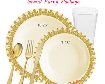 Ornament GRAND Ivory and Gold Party Package