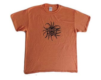Tribal Sun T-shirt-Heather Orange