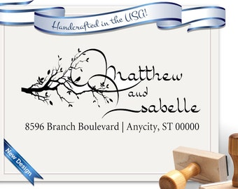 Branch Tree Calligraphy Large Size Return Address Stamp - Large - Perfect for Gifts, Realtor Gifts, Christmas, House Warming - SKU 1143