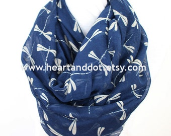 navy bue dragonfly scarf, dragonfly infinity scarf, gift for her, for women, scarf for her, scarf for women, christmas gifts, for mom