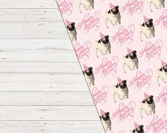 Pug Gift Wrap, Wrapping Paper, Puppy Wrapping Paper, Dog Gift Wrap, Cute Wrapping Paper, Pugs and Kisses Wrapping Paper, Pug Gift Paper