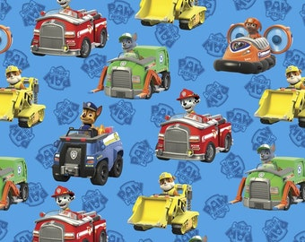 Blue Paw Patrol Rescue Vehicles Nick Jr Cotton Fabric nickelodeon woven characters logo quilting material kids  by the yard  metre
