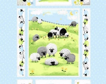 """Meet Lewe the Ewe Quilt Panel 36"""" from Susybee SB20042-710 blue juvenile susy bee cotton woven fabric character children kids sheep farm"""