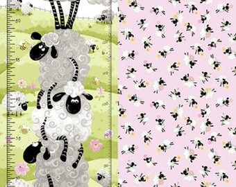 "Lal the Lamb Growth Chart Panel 30"" from Susybee SB20050-520 susy bee quilting cotton woven fabric character kids lamb susy bee sheep"