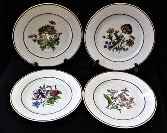 Vintage Set of 4 Josef Kuba JWK Barvaria Western Germany From Circa 1949 Handpainted Floral Salad Plates Or For Display, Cabinet Plates