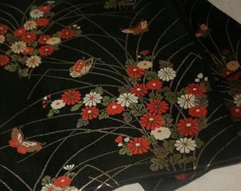 Vintage Silk Obi Belt - Chrysanthemum & Butterfly