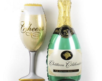 Balloons - Set of Champagne Bottle & Champagne Glass Balloons - Large - great for events, weddings, birthdays and etc