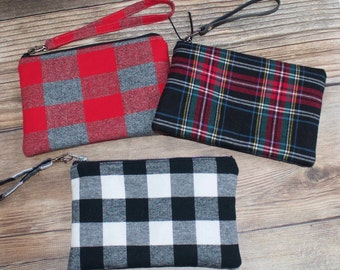 Red and Grey Plaid Wristlet. Buckeye Wristlet. OSU wristlet. Ohio State Wristlet. Red Plaid Wristlet.