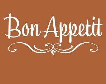 """23"""" x 10""""  Bon Appetit Vinyl Decal"""