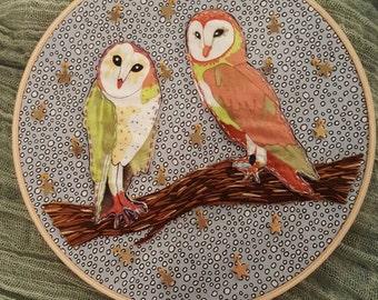 Owls in Love Embroidery Hoop
