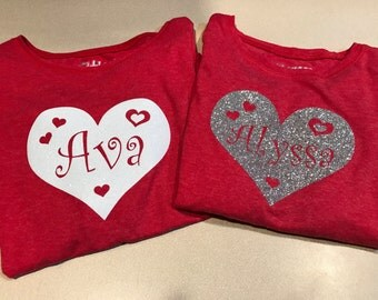 MONOGRAM/Name/Personalized/HEART/Glitter/T-Shirt Iron-On/Decal