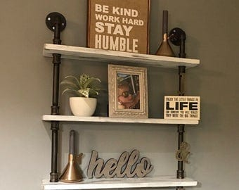 3 tier shelf made from Reclaimed Wood and Industrial Pipe Industrial Chic Steampunk rustic farmhouse Hampton Industrial Design