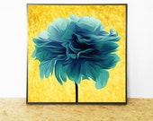 Teal Flower Print, Abstract Teal Print, Flower Print Teal, Printable Wall Art, Teal Abstract Flower, Teal Printable Art, Instant Download
