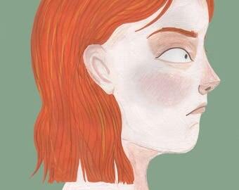 Ginger haired girl print