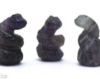 Lot of  3 Snake Miniature  Amethyst Hand Carved Gemstone 198
