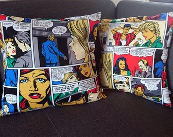 SALE Pop Art Cushion Cover. Bright. 1950s, 1960s. Comic art. Roy Lichtenstein Style. Retro. Vintage design. Unique home decor. Homeware