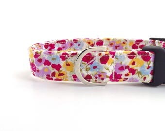 Spring Flowers Dog Collar | Dog Collar | Girl Dog Collar | Pretty Dog Collar | Pink Floral Dog Collar | Small Dog Collar | Puppy Collar