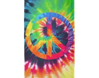 Peace Sign Tie Dye All Over Plush Beach Towel