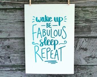 Wake Up Foil Print, Uplifting Foil Print, Bedroom Foil Print, Bathroom Foil Print, Gift For A Friend, Be Positive Print, Hand Lettering