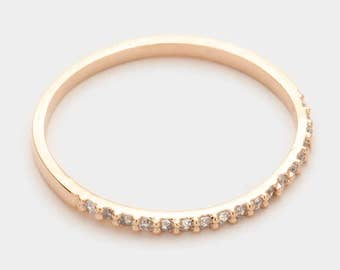 Rose Gold Eternity Band, Rose Gold Ring, Stack Ring, Rose Gold CZ Eternity Ring, Eternity Band, Gold Eternity Band, Thin Ring