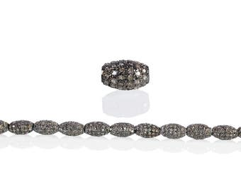 SDC-1517 Oval Bead Pave Diamond Charm