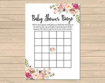 Floral Boho Bingo Game, Printable Boho Bingo Activity, Floral Baby Shower Bingo Cards, Boho Bingo Game, Instant Download, DIY Game, 025-W