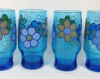 Retro Floral Glasses - Set of Four circa 1970s