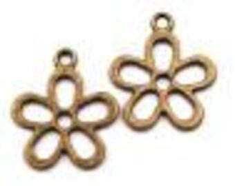 "5 vintage charm ""Flower"" pendant 21mm bronze"