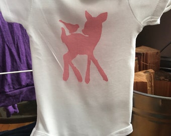 Onesie pink deer child of mine