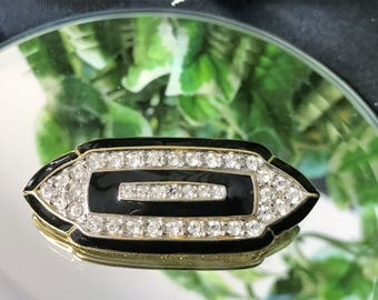 A Lovely Vintage Gold Tone, Black Enamel  and Clear Diamante Art Deco Style Brooch
