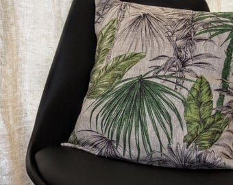 Tropical style 100% linen Cushion cover 40 x 40