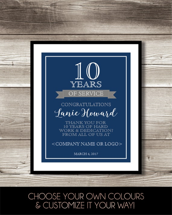 10 Year Work Anniversary Print 10th Work Anniversary Digital
