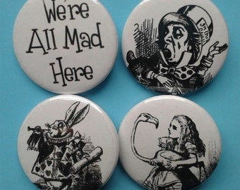 set of 4 black and white Alice in Wonderland 25mm badges