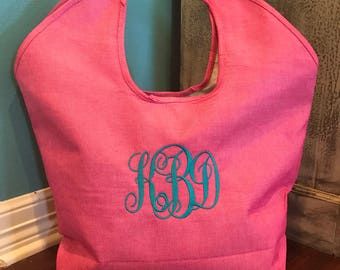 Large Jute Tote with Embroidered Monogram or Name