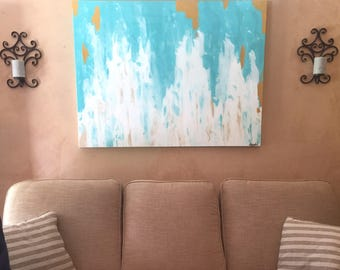SOLD! Original acrylic abstract painting with blues, white, tan, gold, and resin