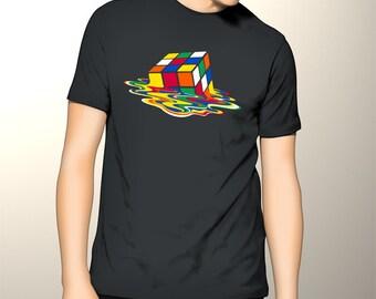 Costum Awesome Melting Rubik's Cube Gildan Tshirt, Rubik's Cube Men Tshirt, Melting Rubik Shirt