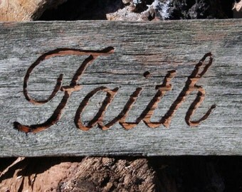 Barnwood sign Hope Faith Love Family Barn Wood set of 4