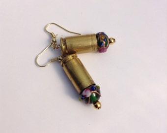 Bullet Casing Earrings, Bullet Earrrings, Lampwork Bead Earrings, Free Shipping
