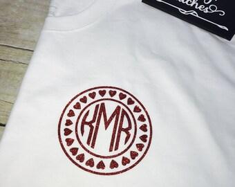 Valentines day shirt, monogrammed shirt, long sleeve monogrammed tee shirt, monogrammed valentines day shirt, personalized shirt, valentines