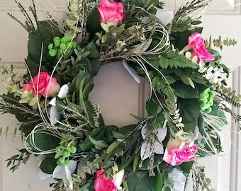 Preserved lemon leaf wreath, custom sizes, wreath, preserved wreath, small wreath, natural wreath, salal wreath, indoor wreath