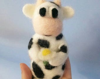 Needle felted cow, 8 inch, felt animal, needle felted animal,  felt cow,  toy cow, eco friendly gifts for kids, eco toy