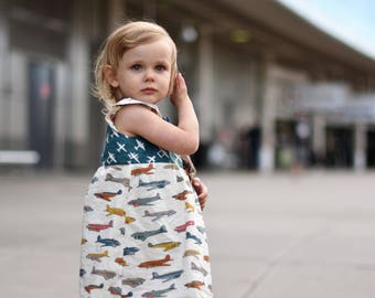 Organic baby dress, Airplane clothes, Baby girl clothes, Organic baby clothes, Pilot baby, Baby girl gift, travelling outit, airplane dress