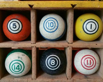 Vintage Clay Billiard Double Circle or Bullseye Decorative Pool Balls  choose your lucky number or favorite color to embrace and showcase